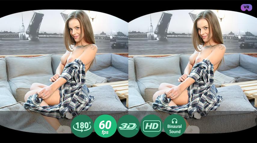 TV addict rubs pussy VR Porn